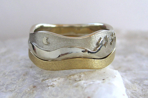 Photo - Landscape rings: Aurora ring with matching band