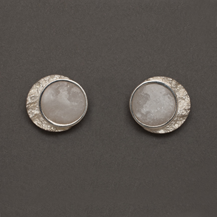 Frozen Moon Stud Earrings