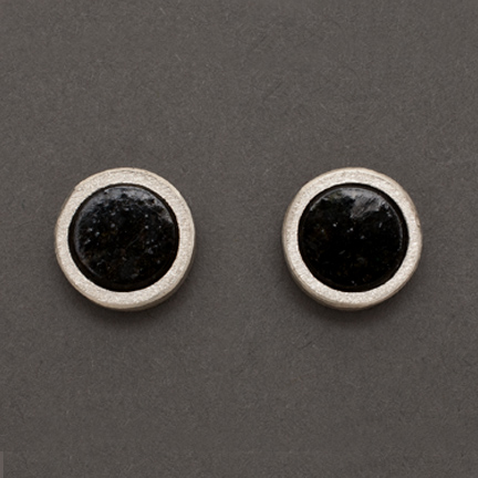 Black Serpentine Stud Earrings