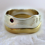 Photo: Custom variation: Aurora - Two-tone: 14k Yellow Gold, Sterling Silver with Garnet