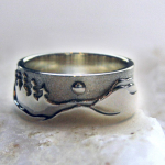 Photo - Custom variation: Mountain Range with Moon – Sterling Silver
