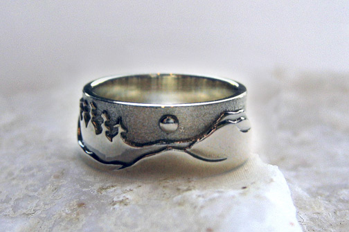 Photo: Custom Mountain Range ring - Sterling Silver with Moon