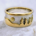 Photo: Custom variation: Treeline - Two-tone: 14K White & Yellow Gold